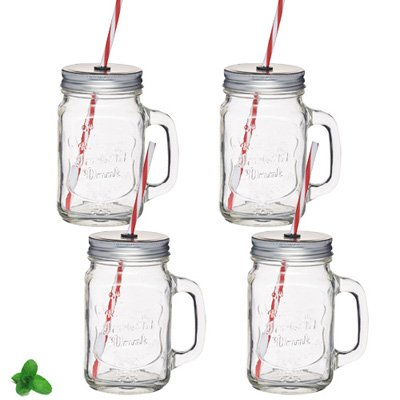 mug mason jar avec paille 450ml kitchen craft kookit. Black Bedroom Furniture Sets. Home Design Ideas