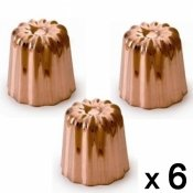Moule � cannel� bordelais cuivre, 5,5 cm, 6 pieces