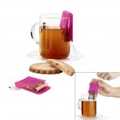 Support et presse sachet de th� Teasquee rose