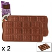 Moule silicone, tablette, 12 chocolat, 2 pieces