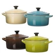 Coffret mini cocotte ceramique, 10 cm, bleu caraibe, dune, kiwi, marron, 4 pieces