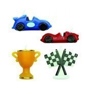 Bougie anniversaire voiture racing Cars x4