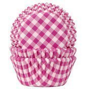 Caissette cupcake Vichy rose x50