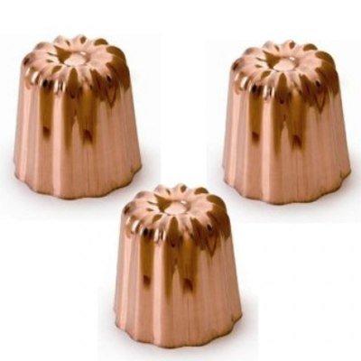 Moule à cannelé bordelais en cuivre, 3 pièces