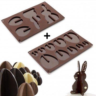 Plaque silicone oeufs et lapins de Pâques 3D, 2 pièces