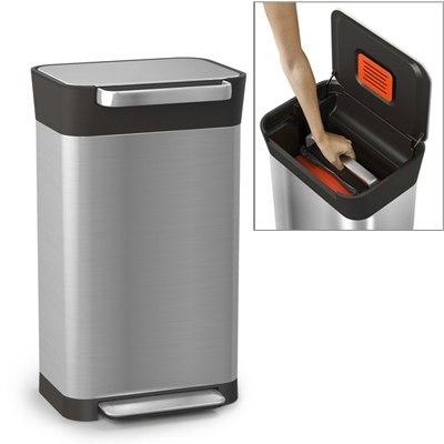 poubelle titan avec compacteur de d chets joseph joseph kookit. Black Bedroom Furniture Sets. Home Design Ideas