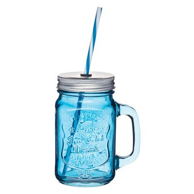 verre avec paille 450ml mason jar bleu kitchen craft kookit. Black Bedroom Furniture Sets. Home Design Ideas