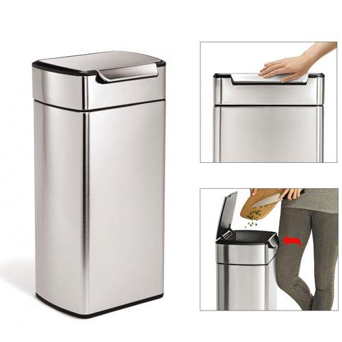poubelle rectangulaire touch bar 30l acier bross simplehuman kookit. Black Bedroom Furniture Sets. Home Design Ideas