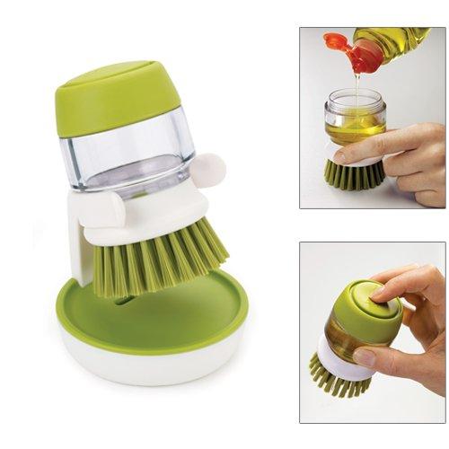 brosse vaisselle avec r servoir reposoir palm scrub blanc vert joseph joseph kookit. Black Bedroom Furniture Sets. Home Design Ideas