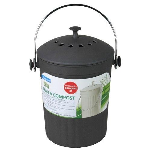 Vert Compost Caddy alimentaire poubelle avec filtre à charbon Couvercle Poignée De Transport