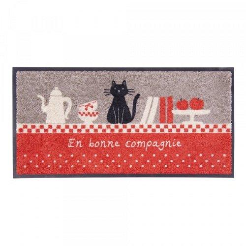 tapis de cuisine chat en bonne compagnie derri re la porte kookit. Black Bedroom Furniture Sets. Home Design Ideas